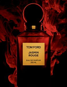 JASMIN ROUGE: Voluptuous. Sensuous. Audacious. | TOM FORD Jasmin Rouge is a voluptuous, saturated, spiced floral.  An unexpected blend of precious sambac jasmine sepals absolute, an ingredient never used before in perfumery with dusky clary sage and rich spices, it unveils a new facet of jasmine's erotic decadence.  Jasmin Rouge is as audacious as lacquered red lips.  Its deep red bottle evokes lush and hedonistic glamour.