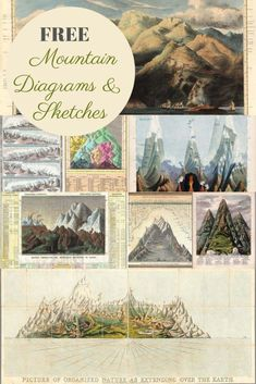 Print Pictures, Free Pictures, Free Images, Mountain Sketch, Free Printable Art, Free Printables, Colorful Mountains, Picture Boxes, Beautiful Sketches