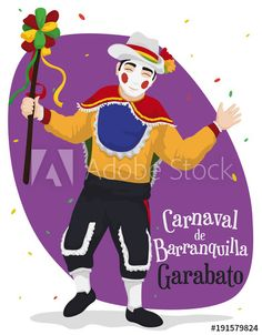Traditional Garabato Character Ready to Celebrate Barranquilla's Carnival, Vector Illustration Adobe, Illustration Vector, Ronald Mcdonald, Chibi, Carnival, Grammar Book, Traditional, Drawings, 50th