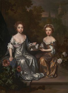 """Portrait of Henrietta and Mary Hyde"", c. 1683, by Willem Wissing (Dutch, 1656-1687)"