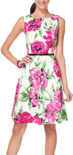 Floral Print Pleated A-Line Dress; Super cute.great design and color www.adealwithGodbook.com