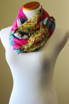 Hot pink chiffon floral scarf, bright sunflower print – Stars on Mars