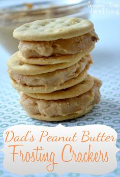 Graham Cracker & Peanut Butter Sandwiches.  I make mine a little differently.  I use about 1/8th more peanut butter & 3 Tbs of milk instead of 2.  And i spead on Graham crackers, not saltines!  Absolutely delish!