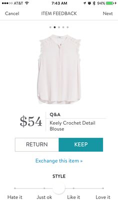 Q&A Keeley Crochet Detail Blouse.  From Stitch Fix
