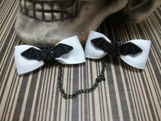 Rockabilly Black Bow Sweater Clips with Black by GhastlyGoverness, $15.00