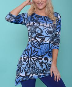Look at this Gradient Blue Floral Sidetail Tunic on #zulily today!