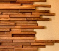 """Everitt & Schilling offers a stunning selection of recycled Barnwood tile and upcycled wood. One of their collections is Trail Mix an upcycled product from scraps of wood salvaged from cabinet and door shops. The wood is offered in 6"""", 8"""" and 10"""", in varying depths and in a variety of species and colors which can be used singly or mixed up."""