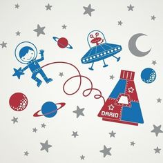 Outer Space Walk Boy Vinyl Wall Art Decal Sticker by graphicspaces, $70.00