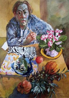 Donald Friend: Self Portrait with Still Life