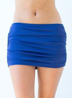 Shirred Navy Skirt w/ Bottoms   Lime Ricki Swimwear