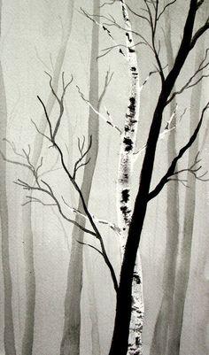 Winter ForestORIGINAL Watercolor by PattisWatercolor on Etsy, $21.00