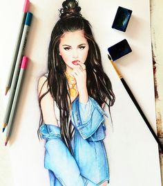 Selena Gomez by Really Cool Drawings, Cool Sketches, Beautiful Drawings, Selena Gomez Drawing, Bff Drawings, Watercolour Drawings, Selena And Taylor, Face Sketch, Celebrity Drawings