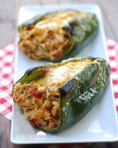 Oven baked, chicken stuffed poblano peppers are delicious, gorgeous, and healthy. These types of healthy dinner recipes intrerrup your comfort and ease food absolute favorites. Think Food, I Love Food, Good Food, Yummy Food, Tasty, Healthy Food Blogs, Healthy Baking, Healthy Snacks, Best Healthy Recipes