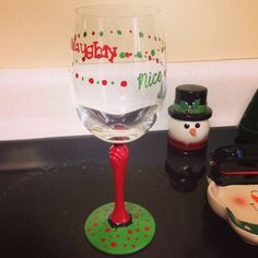 DIY Naughty & nice painted wine glass