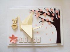 enfeite de porta de maternidade com tsuru de origami e árvore de sakura para meninas - Sakura Origami Ateliê