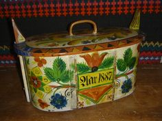 Antique Rosemaled Norwegian Tine Box Folk Art Scandinavian OS Style , dated 1887 ( the other side of the tine box )