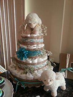Lamb baby shower diaper cake