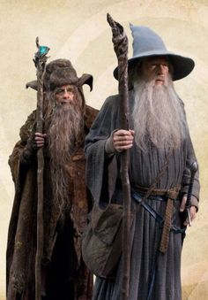 Wizards Radagast the Brown & Gandalf the Grey.  150 Behind-The-Scenes Images From Peter Jackson's THE HOBBIT: AN UNEXPECTED JOURNEY