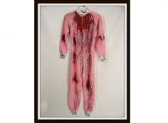 Custom Made Zombie Vampire Halloween Costume vintage Pink Fuzzy One Piece PAJAMAS womens Small S by wardrobetheglobe on etsy, $58.00