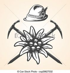Vector - Edelweiss alpine oktoberfest vintage tyrolean style hat feather - stock…