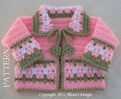 Crochet Sweater Pattern 045 - Blossom Baby Jacket in four sizes - Baby Jacket Toddler Sweater Baby Girl Doll Winter Sweater Cardigan Coat Crochet Baby Jacket, Gilet Crochet, Crochet Mittens, Mittens Pattern, Crochet Cardigan, Ravelry Crochet, Crochet Coat, Crochet Winter, Pull Crochet