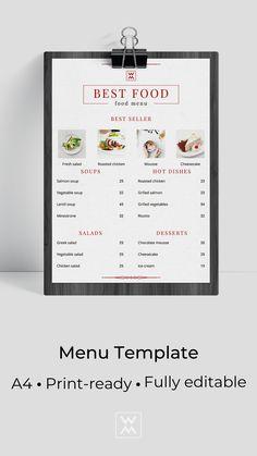 Trendy menu template Roasted Chicken, Chicken Salad, Salmon Soup, Restaurant Menu Design, Brunch Menu, Greek Salad, Lentil Soup, Grilled Vegetables, Menu Template
