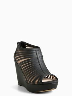 Wide Strappy Mesh Wedge Booties in Black/White - Wide Width