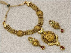 Antique Gold Indian Jewelry set. ancient style temple jewelry