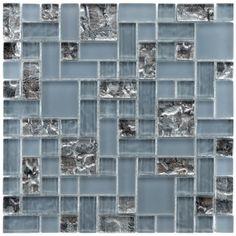 SomerTile 11.75x11.75-inch Reflections Versailles Vesuvius Glass Mosaic Tiles (Pack of 10) - kitchen backsplash