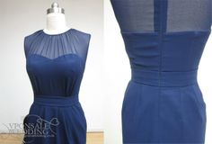 Navy Blue Bridesmaid Dress Front and Back