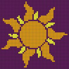 Alpha friendship bracelet pattern added by tangled rapunzel corona sun lost princess disney. Perler Patterns, Loom Patterns, Beading Patterns, Graph Crochet, Pixel Crochet, Perler Bead Art, Perler Beads, Cross Stitch Designs, Cross Stitch Patterns