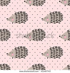 Hedgehog seamless pattern on pink polka dots background. Cute cartoon baby animal background. Child drawing style hedgehog illustration. Design for fabric and decor.