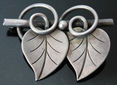 GEORG JENSEN USA STERLING SILVER TWIN LEAF BROOCH