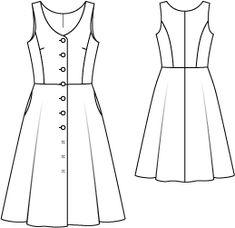 Burda 123-092014-M als Dirndl-Kleid mit Stoffbezogenen Knöpfen, grautöne