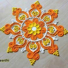 Happy Diwali Rangoli, Easy Rangoli Designs Diwali, Rangoli Designs Latest, Simple Rangoli Designs Images, Rangoli Designs Flower, Free Hand Rangoli Design, Rangoli Patterns, Small Rangoli Design, Rangoli Border Designs