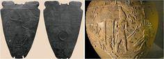 Figura 3. A sin., la paletta di Narmer, sovrano della I dinastia e dx., dx. una rappresentazione del Re Scorpione, predecessore probabile di Narmer (fine IV mill. a.C.). In entrambi i casi la coda di toro è rappresentata in modo esplicito. Nel retro della paletta, Narmer è rappresentato (in basso) come Toro che calpesta un nemico. (segue nel primo commento)