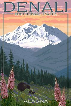 Denali National Park, Alaska - Bears & Spring Flowers - Lantern Press Poster