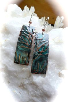 Tree of Life, embossed jewelry, copper green patina, hand made earrings, trees, nature jewelry, nature art jewelry on Etsy, $28.95