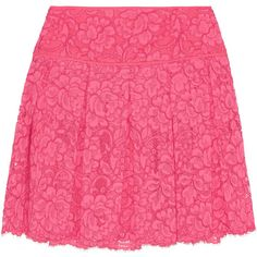 DKNY Pleated guipure lace mini skirt ($140) ❤ liked on Polyvore featuring skirts, mini skirts, bright pink, pleated miniskirt, short lace skirt, mini skirt, short skirts and pink skirt