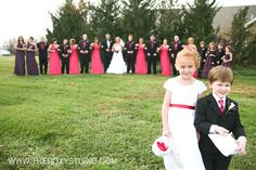 Photographed by Samantha McGranahan, The Roxy Studio. Wedding, pink wedding, flower girl and ring bear, pink flower girl dress, bridal party poses