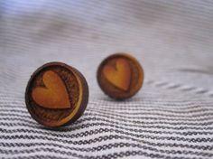 Round heart wooden earrings