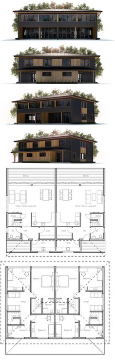 Duplex House Plan - only if I can get shatter proof/bullet proof glass. Architecture Blueprints, House Blueprints, Duplex Floor Plans, House Floor Plans, Craftsman Style House Plans, Modern House Plans, Best Home Plans, Townhouse Designs, Modern Bungalow