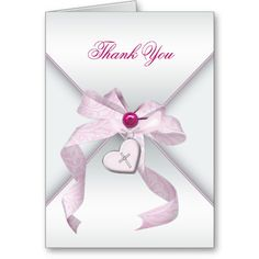 Shop Pink Cross Baptism Christening Thank You created by The_Thank_You_Store. First Communion Cards, First Communion Invitations, Christening Invitations, Pink Invitations, First Holy Communion, Thank You Card Template, Custom Thank You Cards, Christening Thank You Cards, Card Sizes