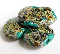 green raku | Green Glass Beads-Handmade Lampwork Beads-Lentil Glass Beads