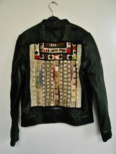 Leather biker jacket with Afghan vintage door TheBohemianLifestyle
