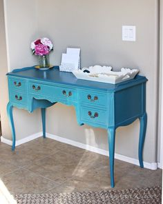love, love, love this french desk painted a teal/peacock blue! just beautiful!