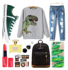 """""""t-rex"""" by kaitlyngibson on Polyvore featuring Converse, Casetify, JanSport and Jean Patou"""