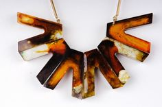 Necklace of resin cast - made of a chocolate silicone mold.