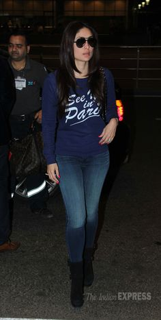 Kareena Kapoor was an eye-catcher in a jersey with skinny jeans, boots and shades.