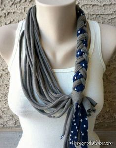 Bella Infinity Braided Scarf Jersey Fabric by Bella Infinity Scarves Leather accessories Unique from Leather Scarf Necklace, Fabric Necklace, Scarf Jewelry, Fabric Jewelry, Diy Necklace, Necklaces, Jewellery, Diy Scarf, Scarf Shirt